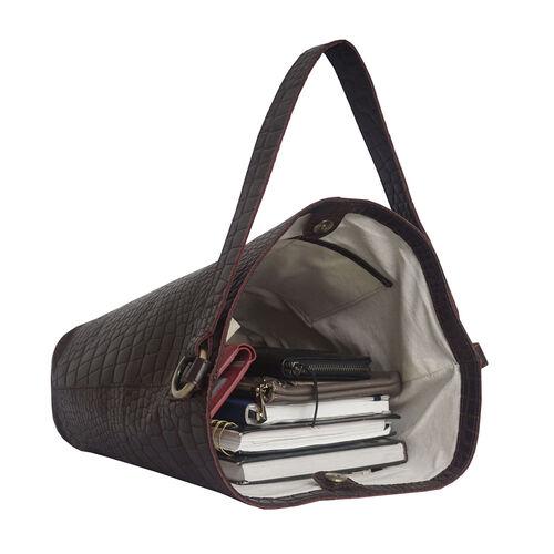 Assots London AMELIA Croc Leather Bucket Bag (35X13X34cm) - Burgundy