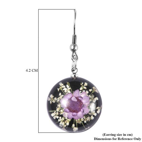 Pressed Purple Dried Flower Hook Earrings in Stainless Steel