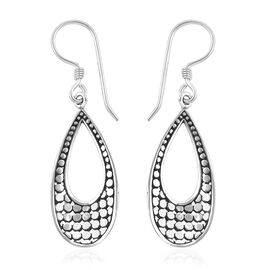Royal Bali Collection Oxidised Sterling Silver Teardrops Hook Earrings, Silver wt 3.62 Gms.
