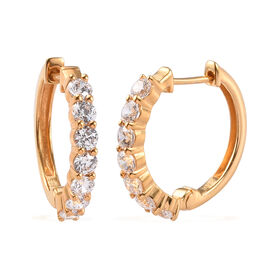 J Francis 14K Gold Overlay Sterling Silver Hoop Earrings Made with SWAROVSKI ZIRCONIA 5.25 Ct.