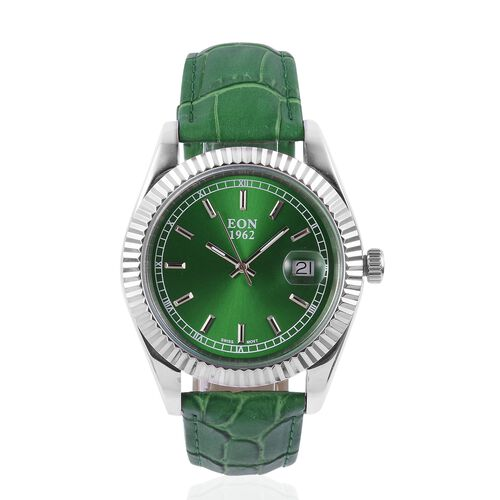EON 1962 Swiss Movement Sapphire Glass 3ATM Water Resistant Watch in Silver Tone with Green Colour Genuine Leather Strap
