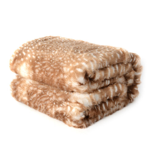 Superior Quality Faux Fur Fawn Blanket with Reverse Faux Mink (Size 200x150 Cm)