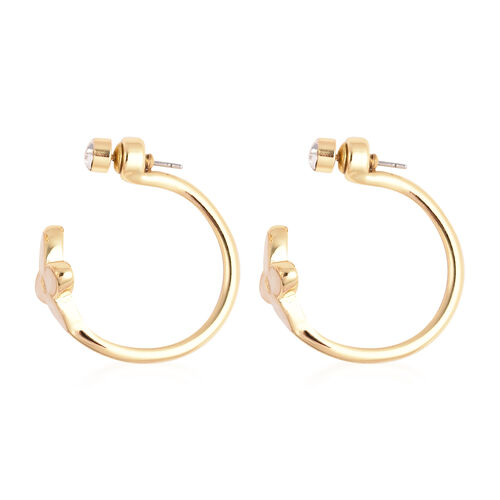 White Shell and White Austrian Crystal Earrings (with Push Back) in Gold Tone
