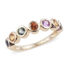 9K Yellow Gold AA Rainbow Sapphire Ring 1.150 Ct.