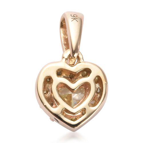 9K Yellow Gold Natural Yellow Diamond Heart Pendant  0.33 Ct.