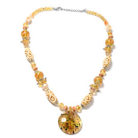 Champagne Colour Murano Style Glass (Rnd), Simulated Champagne Diamond, Orange Quartzite, Simulated Grey Spinel Necklace (Size 28 and 2.5 inch Extender)