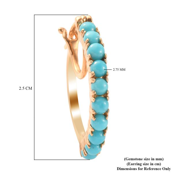 MP Arizona Sleeping Beauty Turquoise Hoop Earrings (with Clasp Lock) in 14K Gold Overlay Sterling Silver 1.64 Ct