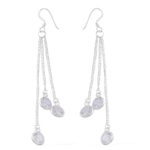 ELANZA AAA Simulated White Diamond (Rnd) Dangle Hook Earrings in Sterling Silver, Silver wt 3.80 Gms.