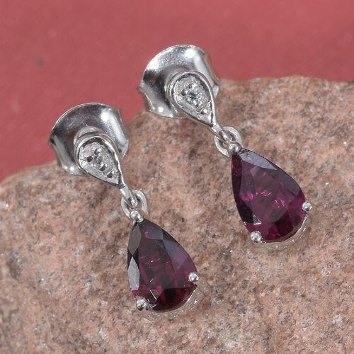Rhodolite Garnet (Pear), Natural Cambodian Zircon Drop Earrings (with Push Back) in Platinum Overlay Sterling Silver 2.00 Ct.