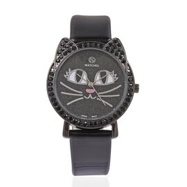STRADA Japanese Movement Black Crystal Studded Water Resistant Kitty Face Black Stardust Dial Watch with Black Strap