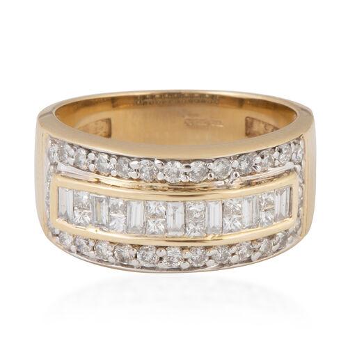 14K Yellow Gold (I1/G-H) Diamond (Bgt) Band Ring 0.750 Ct, Gold wt 5.20 Gms.