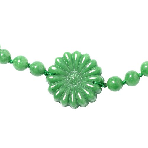 Hand Carved Green Jade Floral Necklace (Size 28) 370.000 Ct.