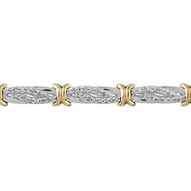 9K Yellow and White Gold Natural Diamond Bracelet (Size 7.5) 1.00 Ct, Gold wt 8.70 Gms