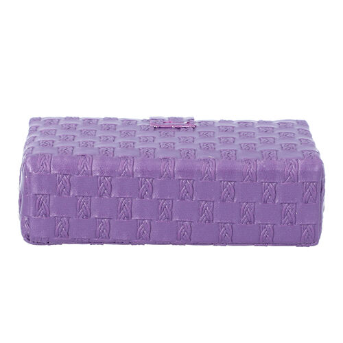 Purple Woven Pattern Jewellery Box with Mirror and Button Clasp Lock (14x8x4.2cm)