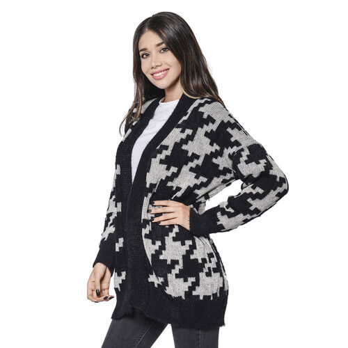 LA MAREY Houndstooth Pattern Black and White Cardigan (Size Up to 18)