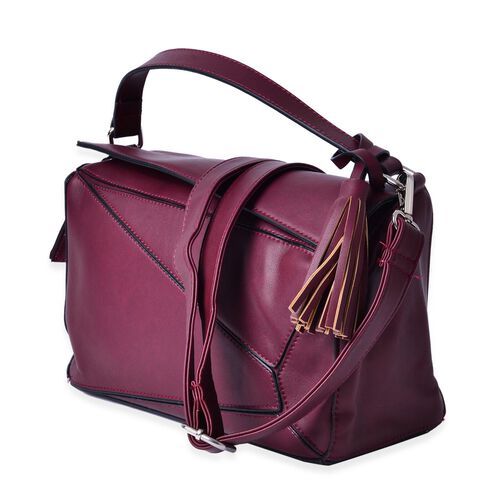 Burgundy Colour Abstract Pattern Tote Bag with External Zipper Pocket with Tassels, Adjustable and Removable Shoulder Strap (Size 30x17x12 Cm)
