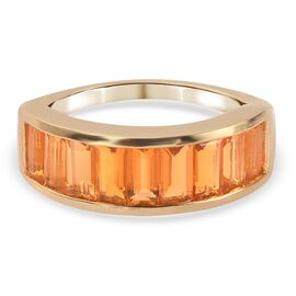 Extremely Rare- Fire Opal (Bgt) Band Ring in 14K Gold Overlay Sterling Silver 1.15 Ct.