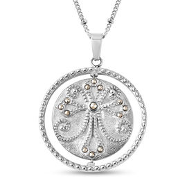 Simulated Marcasite Pendant with Chain (Size 20) in Stainless Steel