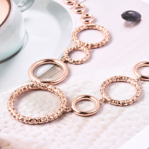 RACHEL GALLEY Allegro Collection - Rose Gold Overlay Sterling Silver Circular Link Necklace (Size 18 with 2 inch Extender), Silver wt. 43.36 Gms