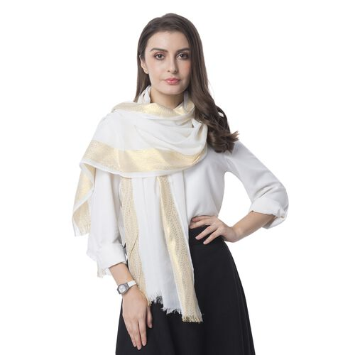 White Colour GoldenTrim Pattern in 2 Side Scarf (Size 180x68 Cm)