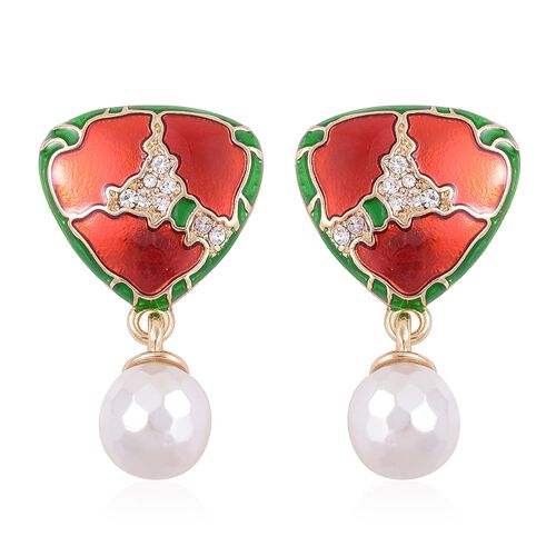 White Shell Pearl (Rnd), White Austrian Crystal Green and Red Colour Enameled Earrings in Gold Tone (with Push Back)