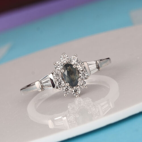 Narsipatnam Alexandrite, Natural Cambodian Zircon Halo Ring in Platinum Overlay Sterling Silver 1.00 Ct.