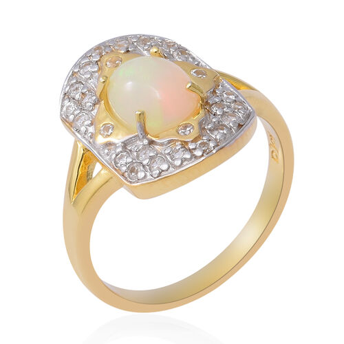 Ethiopian Welo Opal and White Zircon Ring in Two Tone Plated Sterling Silver 2.00 Ct.