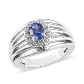 Peacock Tanzanite (Ovl), Natural Cambodian Zircon Ring  in Platinum Overlay Sterling Silver 1.07 Ct,