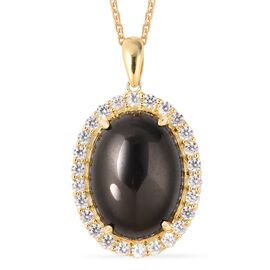 Elite Shungite (Ovl 20x15 mm, 7.75 Ct), Natural White Cambodian Zircon Pendant With Chain (Size 20)