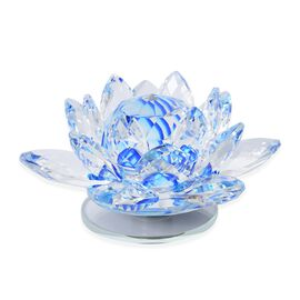 Rotating Faceted Crystal Lotus (Size 14x6.5 Cm) - Colour Blue