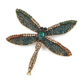 Designer Inspired- AAA Multi Colour Austrian Crystal (Rnd), Simulated Emerald Enameled Dragonfly Brooch