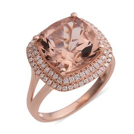 ILIANA 6.92 Ct AAA Morganite and Diamond Halo Ring in 18K Rose Gold 5.17 Grams SI GH