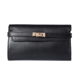 Super Soft  Genuine Leather Clutch RFID Wallet (Size 19x2x10cm)  - Black