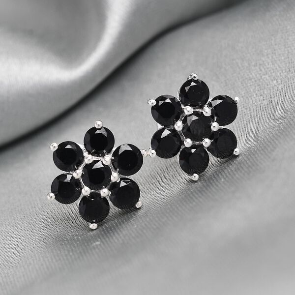 MP - Boi Ploi Black Spinel (Rnd) Floral Stud Earrings (with Push Back) in Sterling Silver 3.01 Ct.