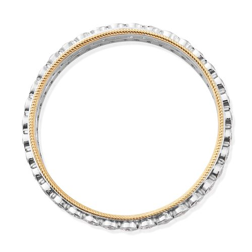 J Francis - Platinum and Yellow Gold Overlay Sterling Silver SPINNER Bangle (Size 8.25) Made with SWAROVSKI ZIRCONIA, Silver wt 37.52 Gms.