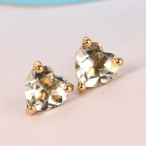 Prasiolite Heart Stud Earrings (with Push Back) in 14K Gold Overlay Sterling Silver 1.66 Ct.