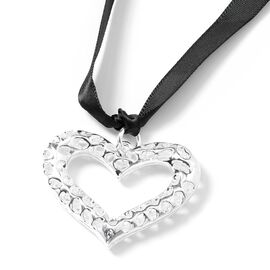 RACHEL GALLEY Lattice Heart Hanging/Bag Charm in Silver Tone