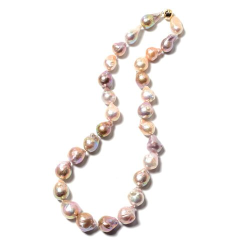 ILIANA 18K Yellow Gold Baroque Purple Edison Pearl Necklace (Size 20) with Magnetic Lock