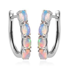 1.35 Ct Ethiopian Welo Opal Hoop Earrings in Platinum Plated Silver