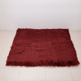 Luxury Edition - Shaggy Pile Super Deep Faux Sheep Skin Area Rug (Size 180x120 Cm) Red
