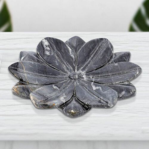 NAKKASHI Hand Carved Lotus-Design Marble Bird Feeder/Bath Bowl - Grey