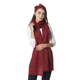 2 Piece Set - Rope Design Hat (Size 23 Cm) and Scarf (Size 190x35 Cm) Red Colour