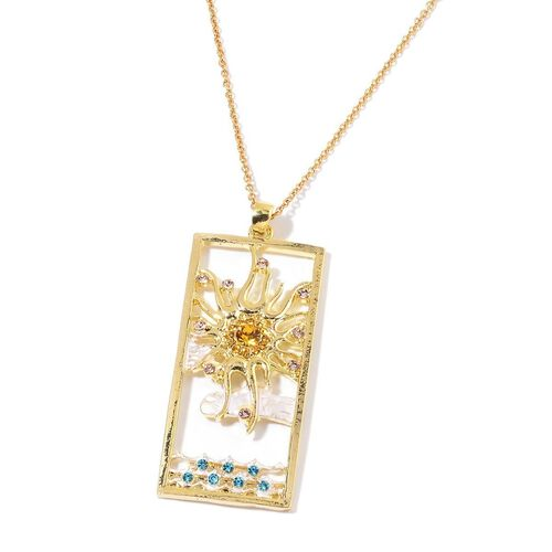 Set of 4 - Spring, Summer, Autumn & Winter Season Multi Colour Austrian Crystal (Rnd) Pendant With Chain (Size 20) in Silver and Rose Gold Tone