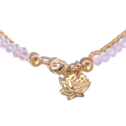 Rose Quartz (Rnd) Bracelet (Size 7.5) with Lotus Charm in Yellow Gold Overlay Sterling Silver 14.400 Ct.