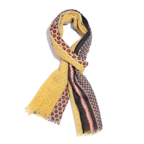 One Time Deal-100% Merino Wool Yellow, Pink and Multi Colour Dots Pattern Scarf with Fringes (Size 1