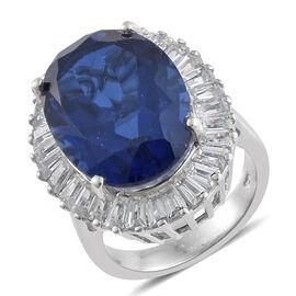 Ceylon Colour Quartz (Ovl 14.00 Ct), Natural Cambodian Zircon Ring in Platinum Overlay Sterling Silver 16.750 Ct, Silver wt 5.26 Gms.