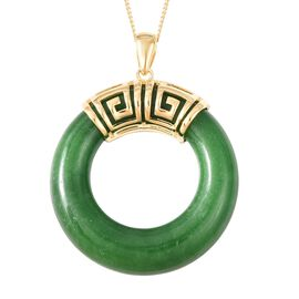 Green Jade Ring Pendant With Chain (Size 18) Yellow Gold Vermeil Sterling Silver 41.75 Ct.