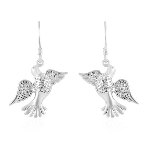 Platinum Overlay Sterling Silver Flying Bird Hook Earrings, Silver wt 4.69 Gms