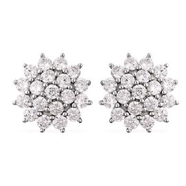 ELANZA Simulated Diamond (Rnd) Floral Stud Earrings (with Push Back) in Rhodium Overlay Sterling Sil