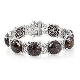 Designer Inspired-Arizona Mojave Black Turquoise (Ovl) Bracelet (Size 7.5) in Platinum Overlay Sterl